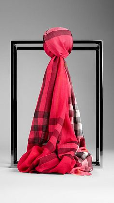 Coral pink Check Ombre Wool Silk Scarf - $395 US