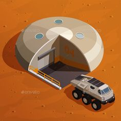 Buy Mars Colonization Isometric Design Concept by macrovector on GraphicRiver. Mars colonization isometric design concept with rover explorer near colony base station on martian landscape backgrou.
