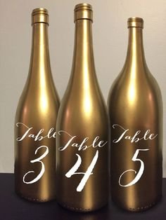 Table Number Wine Bottle Gold Wedding Centerpiece Reception Decor Decoration…