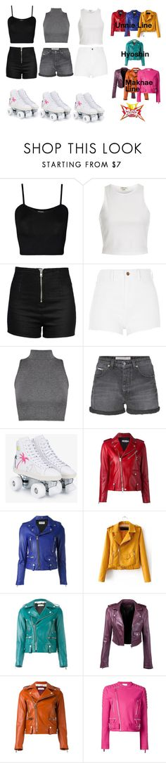 """""""Syndrome 3rd Win at Music Bank"""" by princessmax ❤ liked on Polyvore featuring WearAll, River Island, Love Moschino, Calvin Klein Jeans, Yves Saint Laurent, Coach, Golden Goose and Cédric Charlier"""