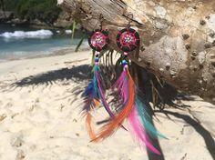 Dream Catcher pendientes - negro/rosa Dreamcatcher - Boho largo pendientes - colgantes coloridos bohemio pendientes - pendientes de la pluma - Hippie