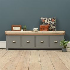 Beautiful Sussex Grey Four Drawer Shoe Bench and Cushion. Free UK Delivery on all storage bench orders. Shoe Storage Bench With Cushion, Hall Bench With Storage, Shoe Storage Drawers, Shoe Storage Bench Entryway, Bench With Drawers, Shoe Drawer, Shoe Bench, Hallway Storage, Bench Cushions