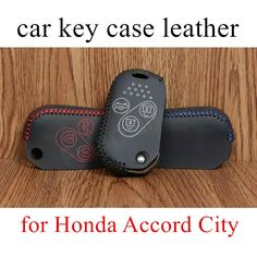 best price sale Car key Case cover Hand sewing DIY car styling Genuine leather fit for Honda Accord City #Affiliate
