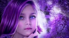 Little girl with purple hair & butterfly on hand vibrant art