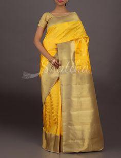 Ginti Vibrant Yellow Molten Gold Border Pallu Wedding #DharmavaramSilkSaree