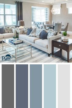 Best Living Room Color Schemes Idea [To Date] Summer colors and decor inspired by coastal living. Create a beachy yet sophisticated living space by mixing dusty blues, whites and grays into your color palette. Coastal Living Rooms, Living Room Paint, New Living Room, Home And Living, Gray Living Rooms, Grey Carpet Living Room, Coastal Cottage, Blue Curtains Living Room, Hamptons Living Room
