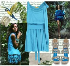 Simple elegance with an edge! Short blue summer dress 2014 by Alice + Olivia, paired with Jeffrey Campbell beige leather studded rhinestone sandals and Giuseppe Zanotti silver sphere sude clutch.