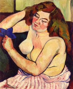 Torso with Blue Ribbon, 1921 - Suzanne Valadon (French, 1865-1938) Post-Impressionism