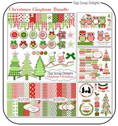 Christmas Clip Art Gingham Bundle  SALE Red, Green Trees, Owls, Stockings, Bows, Bunting Banners, Ribbons, Cards, Digital Scrapbooking  #scrapbooking #christmas #cheer #digital #digiscrapdelights