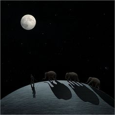 "jepalicious:  ""Walking my elephants"" by Ceslovas Cesnakevicius, 2006."