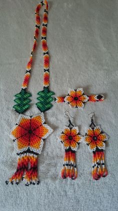 Items similar to Mexican Huichol Beaded Necklace set on Etsy Crochet Necklace, Beaded Necklace, Mexican Jewelry, Beaded Flowers, Necklace Set, Trending Outfits, Unique Jewelry, Beads, Handmade Gifts