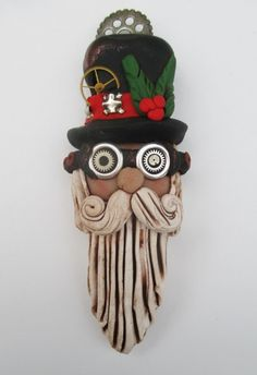 "steam-on-steampunk: ""Steampunk Santa~Steampunk Christmas Love Polymer Clay Steampunk, Fimo Polymer Clay, Steampunk Crafts, Polymer Clay Ornaments, Christmas Tree And Santa, Polymer Clay Christmas, Christmas Makes, Christmas Art, Christmas Ornaments"