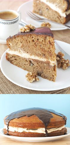 Coffee and Walnut Layer Cake (Butter-Free)