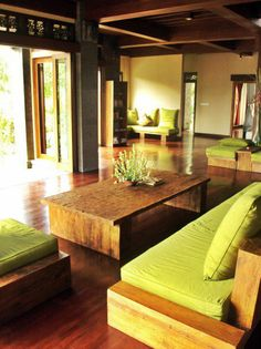 Balinese style living room. Love this colour palette.