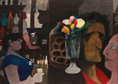 Edward Burra (English, 1905-1976), Flowers in the bar. Watercolour over pencil, laid down onto board, 55.5 x 76.5 cm.