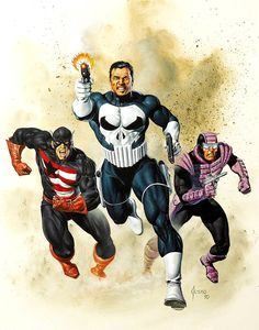 Punisher, U.S.Agent & Paladin by Joe Jusko