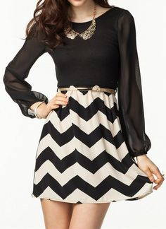 little black chevron dress.