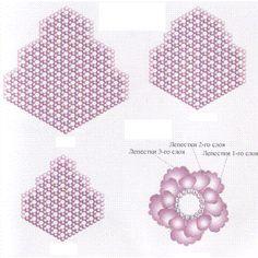 лепестки из бисера, как плести из бисера цветы, роза из бисера