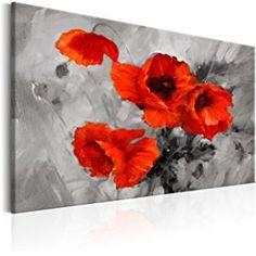 murando - Bilder Mohnblumen 90x60 cm - Leinwandbilder - Fertig Aufgespannt - 1 Teilig - Wandbilder XXL - Kunstdrucke - Wandbild - Blumen Mohn wie gemalt rot grau b-B-0157-b-a