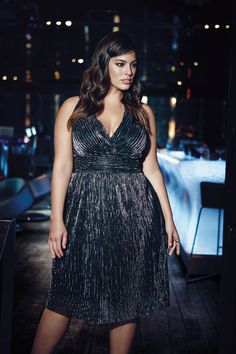 New Noir metallic empire from Addition Elle holiday 2015 plus-size fashion