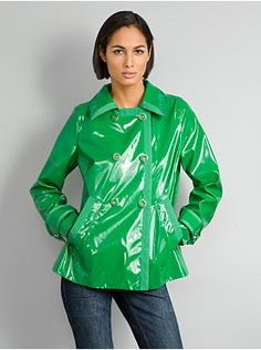 Super-slick and shiny double-breasted trench with 3/4- length sleeves and dyed-to-match grosgrain trim on the collar, front closure, pockets and sleeve tabs. Description from stylehive.com. I searched for this on bing.com/images
