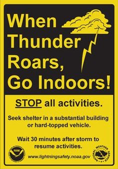 * - Lightning Safety Sign - one of 20 easy-to-memorize Scout safety mnemonics Safety Week, Safety Tips, Safety Rules, Camp Safety, Fire Safety, Disaster Preparedness, Survival Prepping, Tornado Preparedness, Survival Kits