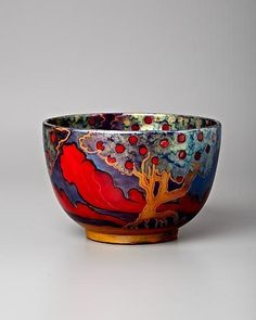 Small earthenware bowl H x W), c. made in the Zsolnay Factory in Hungary, open since - I love the brilliant glaze colors, especially the difficult red. Glazes For Pottery, Pottery Bowls, Ceramic Pottery, Pottery Art, Ceramic Clay, Ceramic Bowls, Earthenware, Stoneware, Ceramica Artistica Ideas