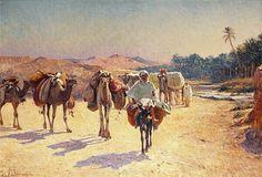 Algérie - Peintre Français  Alexis Auguste Delahogue(1867-1950),Huile sur toile , Titre : Caravane devant l'oued