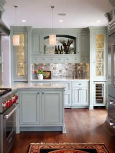 """Traditional Kitchen with Raised panel, 24"""" Undercounter Wine Storage, Inset cabinets, Wine refrigerator, European Cabinets"""