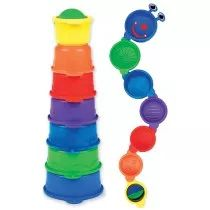 Stack, scoop and strain with Caterpillar Spillers. Your child will love to inspect this friendly insect that links up 7 numbered cups. These brightly colored cups pour and strain water in the bath for endless spilling and scooping fun. The cups also stack