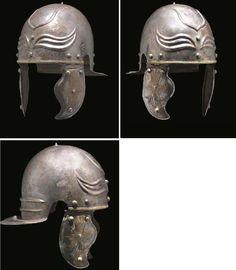"A Rare and Important Roman Tinned Bronze ""Imperial Gallic"" Helmet cent AD Roman Artifacts, Ancient Artifacts, Roman Helmet, Roman Armor, Ancient Armor, Roman Legion, Empire Romain, Roman Soldiers, Roman History"