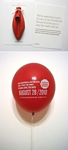 balloon wedding / save-the-date invitation