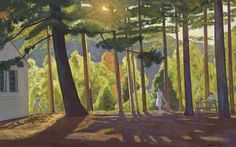 Picnic in the Pines, Asgaard, Rockwell Kent. - - Oil on Canvas - Rockwell Kent, Monhegan Island, Portraits, Art For Art Sake, Artist Painting, Painting Trees, American Artists, American Realism, Landscape Paintings
