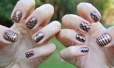 China Glaze On Safari striping tape nail art - Prey Tell and I Herd That