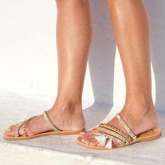 RiRiPoM Boho Bridal Sandals Strappy Sandals Bronze Sandals (€139) found on Polyvore
