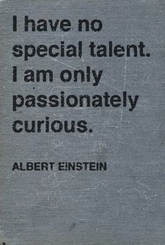 I'm not sure why, but this really touches me...probably because it defines me. Who needs a special talent when you have passionate curiousity? :)