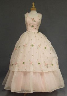 """Princess Pink Chiffon 1960's Ball Gown w/ Floral Embroidery: """"A feminine 1960's ball gown in embroidered pale pink nylon chiffon over a darker pink tulle and acetate. Truly fit for a princess!"""""""