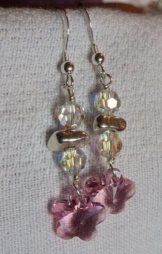 Pink Daisies - Swarovski crystals and silver nuggets.