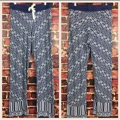 Anthropologie Lilka s Navy Blue White Wide Leg Knit Pants Geometric Print Boho | eBay