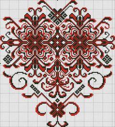 Cross Stitch Heart, Cross Stitch Borders, Cross Stitch Designs, Cross Stitching, Cross Stitch Patterns, Folk Embroidery, Embroidery Patterns Free, Loom Patterns, Cross Stitch Embroidery