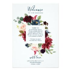 Wedding Itinerary Hotel Welcome Letter - Burgundy - Wedding Welcome Letter - Fall Wedding Ideas - Wedding Itinerary by Creative Union Design #weddingideas Wedding Programs, Wedding Tips, Wedding Cards, Fall Wedding, Wedding Schedule, Wedding Weekend, Welcome To Our Wedding, Wedding Thank You, Romantic Notes