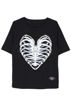 ROMWE | ROMWE Bone Heart Print Short-sleeved Black T-shirt,#heart print#rowme# The Latest Street Fashion
