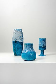 Guido Gambone; Glazed Ceramic Vases, 1950s.