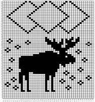 Moose scarf pattern Just for knitting! Knitting Charts, Knitting Stitches, Knitting Designs, Knitting Patterns Free, Knitting Projects, Scarf Patterns, Cross Stitch Designs, Cross Stitch Patterns, Fair Isle Chart