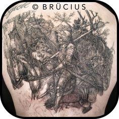 #BRÜCIUS #TATTOO #SF Albrecht #Dürer #knight #death #devil #back #inprogress #linework #blackink #etching #engraving #stillgoing
