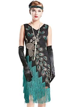 4dc0afc1a5 BABEYOND Vintage Peacock Sequined Dress Gatsby Fringed Flapper Dress  Roaring Party Dress (Black with Green Fringe
