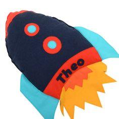 Personalised Space Rocket Handmade Cushion- kid's personalised cushion, keepsake, christening gift, space rocket theme, modern nursery