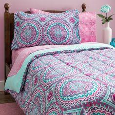 Bedding Sets Twin for Teens Girls Kids Comforter Pink Mint Green Dorm Sheets Twin Comforter Sets, Teen Bedding, Bedding Sets, Teen Girl Bedspreads, Bedspreads Comforters, Crib Bedding, Casa Anime, Purple Bedding, Teal Comforter