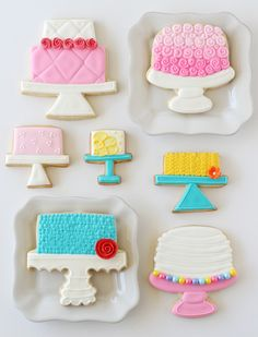 These pretty Cake Stand Decorated Cookies are a fun way to combine a love of cookie decorating and cake decorating!