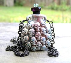 Raku Skull Pendant Bottle Lost Souls Necklace by lovelandshadetree, $28.00